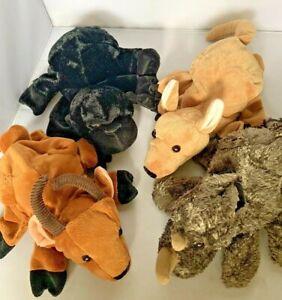 Lot of 4 Caltoy Hand Puppet Plush Gorilla Rino Ibex Kangaroo Wildebeest Antelope