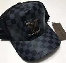 LV Baseball Hat- Black LV Checkered Luxury Designer Meshback Cap