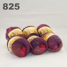 Sale New 6 Skeins x50gr Rainbows Multicolor Hand Knit Wool Yarn Wrap Scarves 25