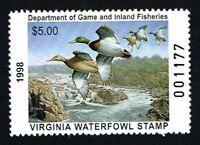 CKSTAMPS : 1998 US Virginia State Ducks Hunting Stamps $5.00, Mint NH OG VF