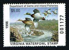 CKSTAMPS : 1998 US Virginia State Ducks Hunting Stamps $5.00, Mint NH OG VF