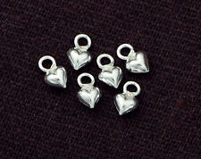 925 Sterling Silver 10 Little heart Charms 4 mm.