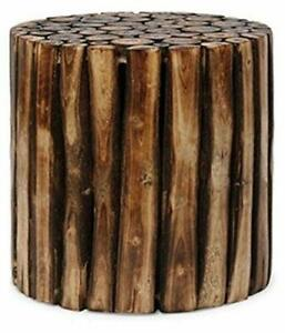 Natural Wood Beautiful Round Wooden Stool For Bedroom Living Room Outdoor Garden