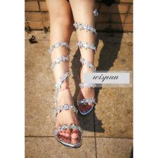 Women Strappy Gladiator Rhinestones Knee High Heel Boots Boho Sandals Lady Size
