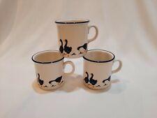3 White & Cobalt Blue Duck Goose Geese Mugs Cipa Porcellana Italy Vintage 1980s
