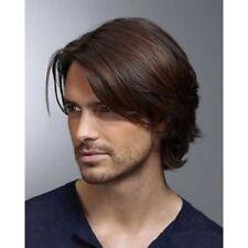100% Real Hair!Men Short Casual Dark Brown Straight Human Hair Wig Toupee