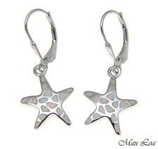 Star White Opal Leverback Earrings 925 Silver Rhodium Hawaiian Starfish Sea