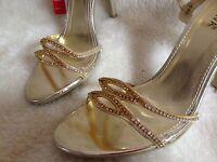 Gorgeous gold ladies sandals with diamantes. size 3, 4, 5, 6, 7, 8.