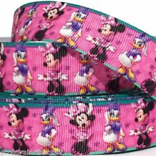 "GROSGRAIN RIBBON 7/8"" Minnie Mouse & Duck SH MN7  Printed for Hairbows USA SELL"