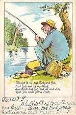 POSTCARD   COMIC  FISHING RELATED  It's  nice to sit and think and fish.....