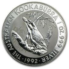 1992 Australia 1 oz Perth .999 Silver Kookaburra (from mint roll, in capsule)