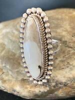 Mens Native American Sterling Silver White Buffalo Turquoise Ring Set Sz 9 434