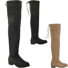 Womens Ladies Flat Thigh High Boots Low Block Heel Winter Over The Knee Size New