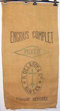 Ancien sac toile de jute Engrais Complet Mixer DELAFOY & CIE NANTES
