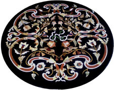 "32"" Black Marble Table Top Pietra dura Inlay Furniture home Decor"