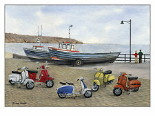 The Italian Job - Visits Filey - Scooter, Vespa, Lambretta Print