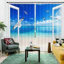 Sand White Seagull Sea 3D Curtain Blockout Photo Printing Curtains Drape Fabric