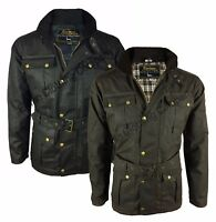 Mens Eirinn Country Wear Continental Belted Biker Wax Motorcycle Jacket Wax Coat