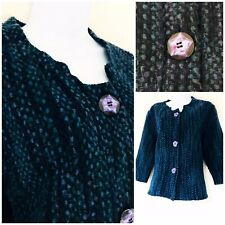 M&S Jacket Per Una Blue Green Size L 16 - 18  Women's Smart Work Buttons Soft