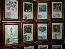 Stamps. Collectible Art: 28 Historical In Glass Wood Framed. British Postage.