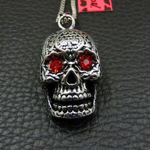 Betsey Johnson Fashion Mens Stainless Steel Skull Head Pendant Chain Necklace