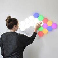 6/10X RGB LED Hexagonal Wandlampe Wandleuchte Kapazitive Berührung Quantum Lampe