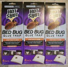 3 Boxes of 4 Traps Hot Shot Bed Bug Glue Trap Infestation Detector Enviro-Safe