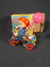 Vintage Tin Wind Up Key Toy Happy Days Bicycle, Boy Balloon Bell Bike, Working