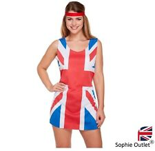 LADIES UNION JACK FANCY DRESS COSTUME Cheer Leader Girls Outfit Short Dress UK