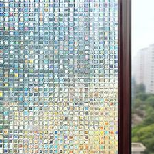 3D Window Privacy Static Heat Stained Glass Pattern Decorative Non-Adhesive Film