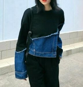 Black Blue Denim Urban Street Designer Edgy Soft Sweater Jumper Winter Top  8 10
