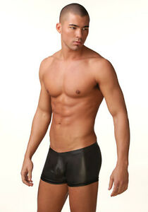 N2N Bodywear B3 Black Liquid Skin Shorts Trunks, Leather Rubber Neoprene look