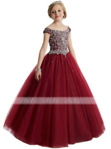 2020 Girls Beaded Dress Fashion Bridesmaid Flower Girl Pageant Prom Ball Gowns