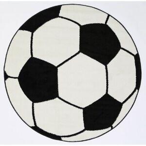Children's Rug Floor Play Mat Soccer Ball Black & White Round rug 80cm Diametre