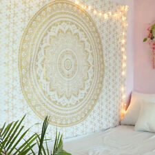 White and Gold Mandala Tapestry Wall Hanging Boho Hippie Bedspread Twin Tapestry