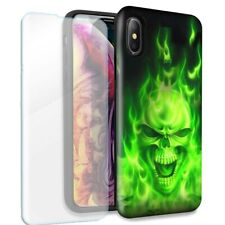 Green Flaming Skull Double Layer Case Glass Screen For Apple iPhone XR