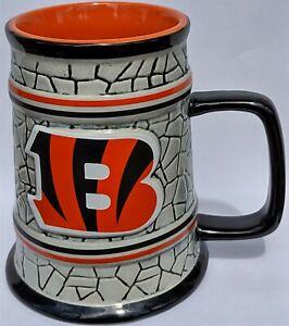 NEW Cincinnati Bengals NFL 15oz Stein Mug w/Stone Relief Background-Memory Co