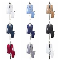 Fashion Men Casual Slim Formal One Button Suit Blazer Coat Jacket Tops Pants Set