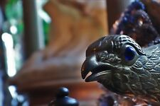 Unique Lalique Masterpiece Crystal/Sterling Silver Peacock Lamp