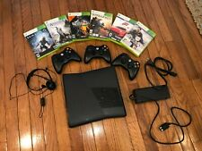 Xbox 360S 250 Gb Matte Black Console w 3 Controllers and 6 Games