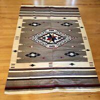 "Vintage Southwest Design Wool Rug Blanket Wall Hanging 80""x56"" Good Condition"