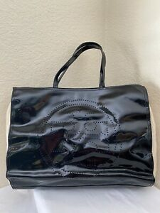 Tory Burch Black Patent Leather Stacked Perforated Logo Beige Fabric Tote Bag
