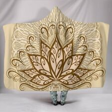 Ornamental Lotus Brown Hooded Sherpa And Microfiber Blanket With Hood