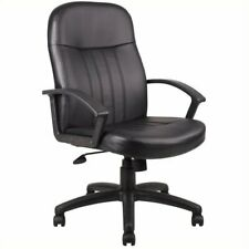 Boss Office Products Leather Contemporary Executive Office Chair In Black