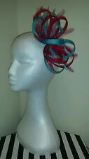 Cerise pink and Turquoise / lagoon fascinator /hatinator for wedding/races