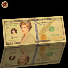 WR Princess Diana Million Dollar Bill 20 Anniversary 24K Gold Banknote Souvenir