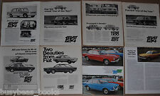 1966-69 FIAT advertisements x7, + article, from British magazine, 124, 850, 1100