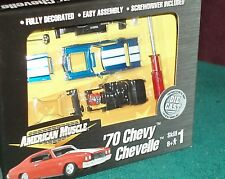 ERTL 1970 CHEVY CHEVELLE BLUE/WHITE 1/64 ASSEMBLY MODEL KIT