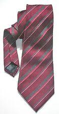 NEW Mens Silk Tie Necktie Burgundy Red Charcoal Gray Stripe by Alfani T1156