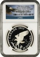 2013 CANADA RETURNING FROM HUNT BALD EAGLE $20 E/R NGC PF70 ULTRA CAMEO w/ OGP